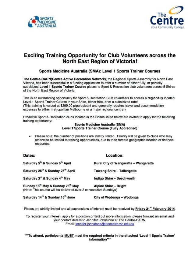 NE Sport & Rec Clubs - Level 1 Sports Trainer Course Opportunities